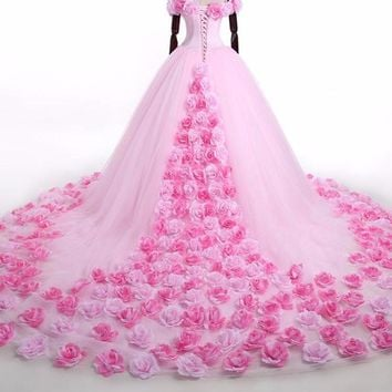 Pink Cloud Flower Rose Wedding Dresses Long Tulle Puffy Ruffle  Bridal Gown Said Wedding Gown