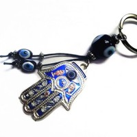 Blue Evil Eye on a Hamsa Key Ring and (With a Betterdecor Pounch)
