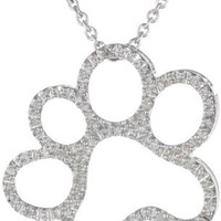 Sterling Silver Diamond Dog Paw Pendant Necklace, 18 Inch (1/20 cttw)