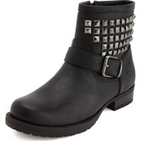 Pyramid Stud Buckle Moto Bootie by Charlotte Russe - Black