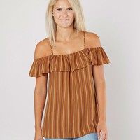 Daytrip Striped Cold Shoulder Top - Women's Shirts/Blouses in Rust | Buckle