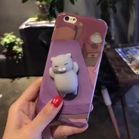 Squishy Grey Cat Phone Case For iPhone 6, 6s, 7, 7 Plus