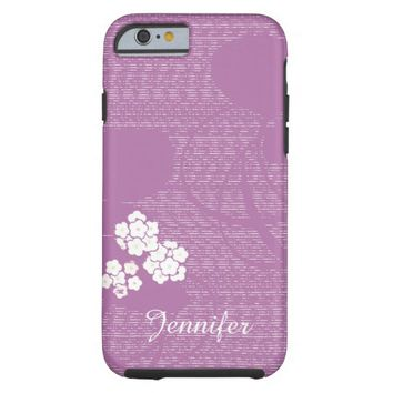 Purple and White Floral Flowers Feminine Custom Tough iPhone 6 Case