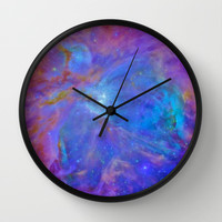Orion Nebula Cool Blues & Lavenders Wall Clock by 2sweet4words Designs | Society6