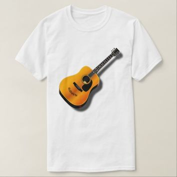 Acoustic Vintage Guitar With Musician Custom Name Tee Shirt