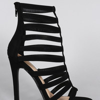 Liliana Nubuck Strappy Caged Open Toe Heel