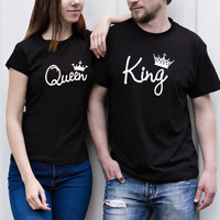 King Queen T Shirt Imperial Crown Printing Couple Clothes lovers Tee Shirt letter Femme Summer T-shirt Love pink Casual neck Top