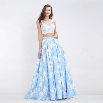 Summer Evening Dresses Flower Pattern Sexy Long Party Gown for Girls