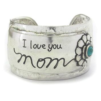 Message I Love You Mom Silver Metal Bracelet