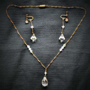 Vintage Antique 1920's  Crystal Jewelry Set - Necklace and Earrings Set In Brass Gorgeous!!!!