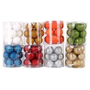 12 pcs/lot Christmas Baubles Chic Round Christmas Balls Ornament Christmas Tree Decorations New Year Xmas Tree Hanging Ornaments
