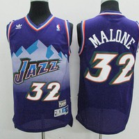 Utah Jazz #32 Karl Malone Purple Retro Swingman Jersey