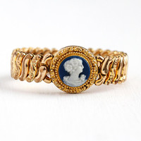 Vintage Cameo Bracelet - Rosy Yellow Gold Filled Blue & White Hardstone Repousse Expansion Stretch - 1940s American Queen Adjustable Jewelry