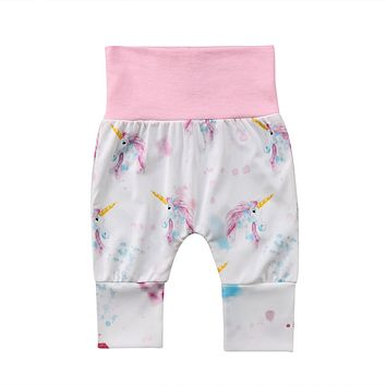 2018 0-24M Warm Cute Unicorn Newborn Baby Boys Girls Harem Pants Leggings Tight Trousers