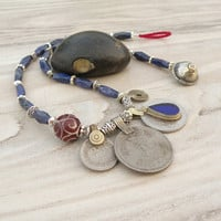 Nomadic Talisman Necklace - Lapiz Lazuli - Tribal Gypsy, Coin Jewelry, Belly Dance, Blue and Red