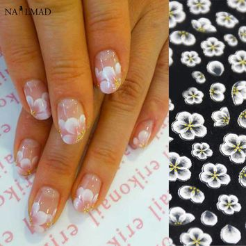 1 sheet Flower Nail Art Stickers White Lace Nail Sticker Acrylic Flower Adhesive Nail Decals Rose Gold Nail Stickers