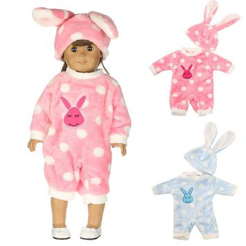 Bunny Jumpsuit Cap Pajama Clothing For 18 inch Our Generation American Girl Doll