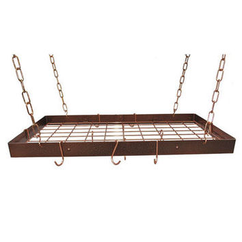 Rogar Rectangular Hanging Pot Rack with Grid In Hammered Copper and Copper