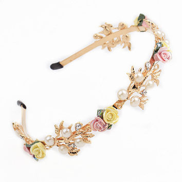 Budding Entrepreneur Business Tiara in Gold with Rosebuds and Pearls