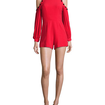 Alexis Asher Button-Trim Cold-Shoulder Romper