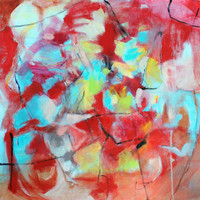 """Expressionist Abstract Painting Red Canvas 20x20 """"Power of Vision"""""""