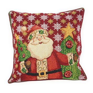 Tache Festive Christmas Cute Santa Claus Is Coming to Town Throw Pillow Cushion Cover (DB15191CC-1616)