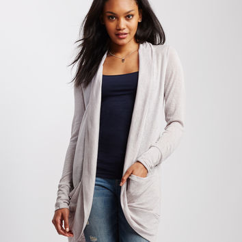 Long Sleeve Gauzy Open-Front Cardigan