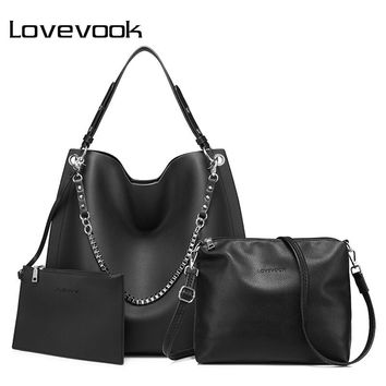 LOVEVOOK 3 set women handbag large tote bag shoulder crossbody bag with soft artificial leather female messenger bag small purse