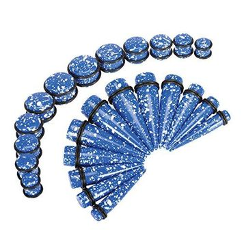 BodyJ4You Gauges Kit Taper Plug Ear Stretching Splatter Blue 00G-20mm Body Piercing Set 24 Pieces