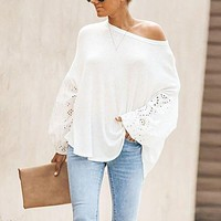 Elegant Solid Floral Hollow Out Blouse Shirt Women Lantern Sleeve White Tops Spring Blouse Casual Loose Blusas feminin Plus Size