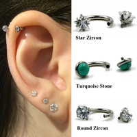 361L& Zircon Internal Circular Barbell Horseshoe Ring Ear Cartilage Helix Septum Nose Lip Labret Piercing Septo Body Jewelry 16g