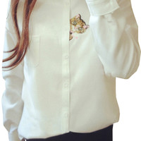 White Cat Embroidery Button Down Shirt