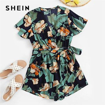 SHEIN Multicolor Floral And Palm Leaf Print Surplice Boho Romper Women Summer Deep V Neck Casual Sexy Beach Playsuits