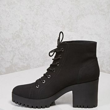 Canvas Lug Ankle Boots