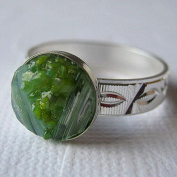 Size 10 Ring, Green Druzy Ring, Jade Green Ring, Stained Glass Ring