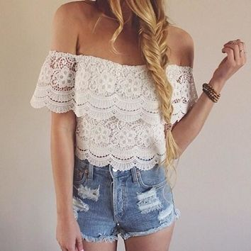 Sexy Women Fashion Lace Crochet Off-Shoulder Tops Blouse Shirt T-Shirt Tee S M L A_L = 5613022657