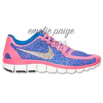 Nike Free 5.0 V4 (Pink/Blue Dots) running shoes with Swarovski Crystals
