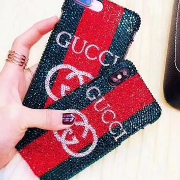 GUCCI 2018 Hot Sale! Fashion Ladies iPhone X iPhone 7 iPhone 8 plus - Luxury Shiny Diamond On Sale Hot Deal Matte Couple Phone Case For iphone 6 6s 6plus