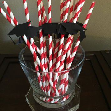 Graduation Party Straws, Graduation Cap Decor, Class of 2015, Congrats Grad, Graduation Paper Straws, 2015 graduation straws