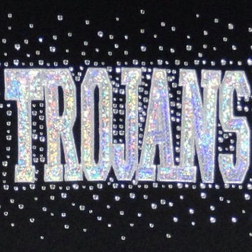 Trojans team name logo iron on hotfix rhinestone transfers -2 layer hot fix mascot appliqué
