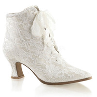 White Lace Satin Victorian Style Lace Up Bridal Boots
