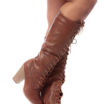 Tan Faux Leather Lace Up Knee High Chunky Boots