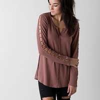 Gilded Intent Cold Shoulder Thermal Top