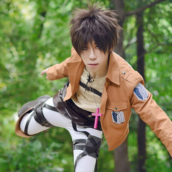 Attack On Titan (Shingeki No Kyojin) Eren Jaeger Anime Cosplay Wig Short Wig Dark Brown Hair Wig Heat Resistant Free Shipping