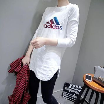 """Adidas"" Women Casual Simple Galaxy Logo Letter Print Long Sleeve Irregular T-shirt Tops"