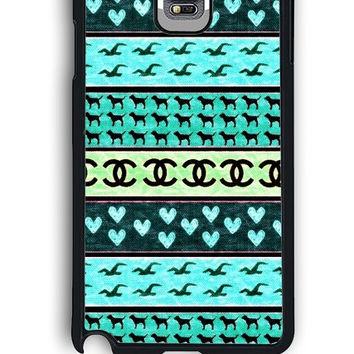 Samsung Galaxy Note 4 Case - Rubber (TPU) Cover with red hollister seagulls chanel sign hearts stripes Design
