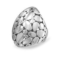 Rhodium Plated Brass Cobblestone Design Ring