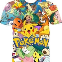 Pokemon collage full print graphic shirt