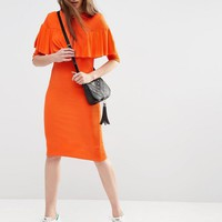 ASOS | ASOS Rib Ruffle Detail Column Dress at ASOS
