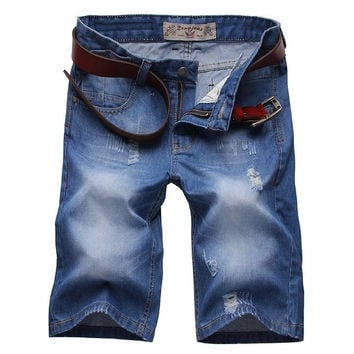 Worn Denim Shorts Straight Thin Slim Mens Cotton Shorts Knee-length Jeans Bermudas